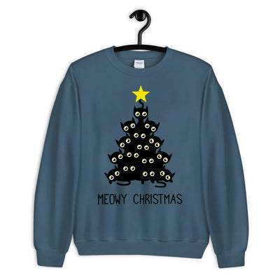 Black Cat Meowy Christmas Tree Unisex Sweatshirt
