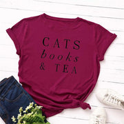 Cats Books and Tea Women's T-shirt