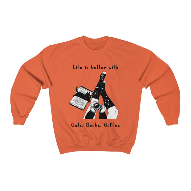 Lovely Cats Books Coffee Unisex Sweatshirt