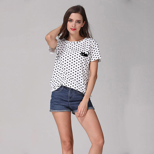 Cute Black Cat Polka Dot T-Shirt