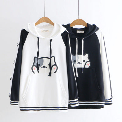 Women's Cartoon Cat Hooded Sweatshirt
