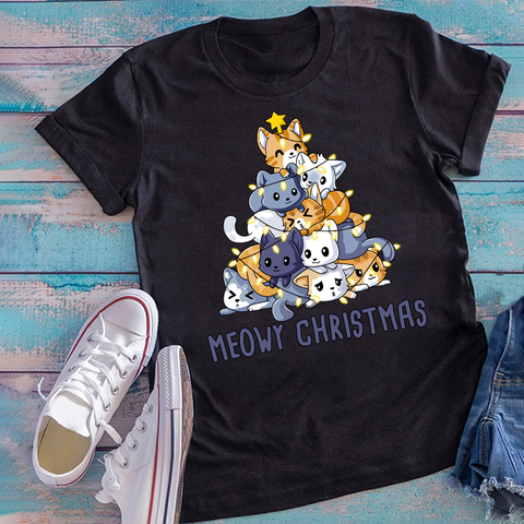 Meowy Christmas Funny Cats Short-Sleeve Unisex T-Shirt