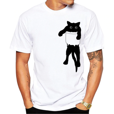 Naughty Black Kitty in Pocket Men's T-Shirt