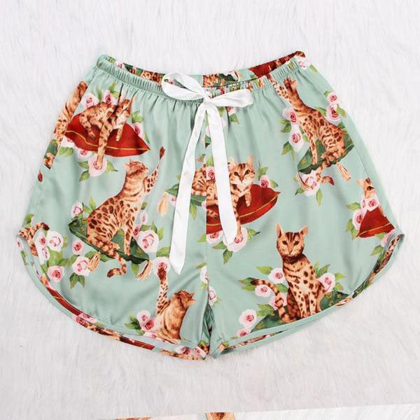 Cute Cat Print Top & Shorts Set