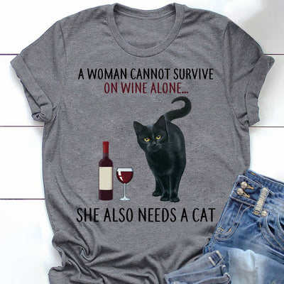 Woman, Cat, Wine Short-Sleeve T-Shirt
