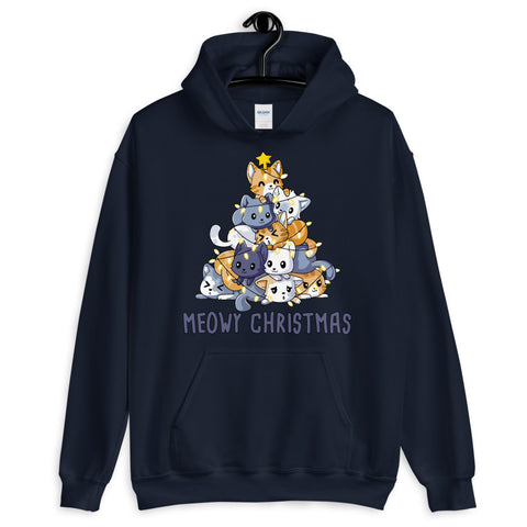 Meowy Christmas Funny Cats Unisex Hoodie