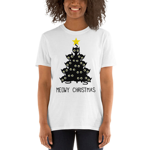 Black Cat Meowy Christmas Tree Unisex T-Shirt