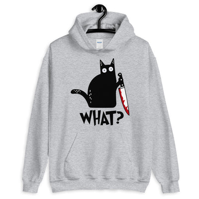 Murderous Cat With Knife Funny Unisex Hoodie