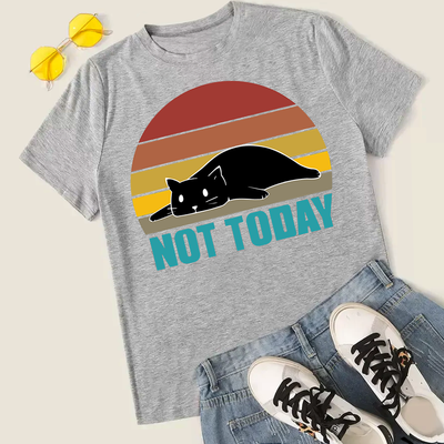 Vintage Style Not Today Lazy Cat Unisex T-Shirt