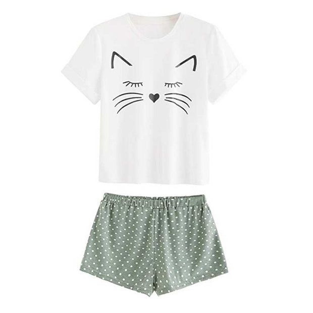 Dotted Shorts Kitty Pyjamas
