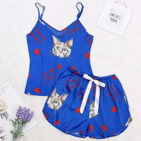 Cat Print Spaghetti Top & Shorts Nightwear Set