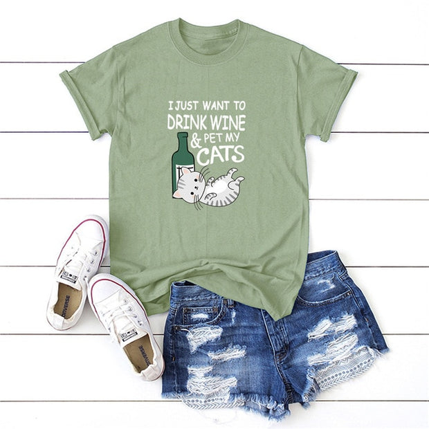 Drink Wine and Pet Cats Women's T-shirt
