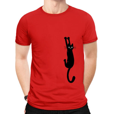 Clingy Black Cat Men's T-Shirt