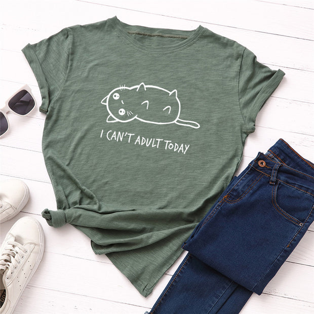 I Can't Adult Today Lazy Cat Ladies' T-Shirt