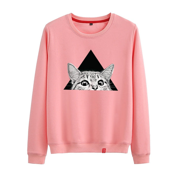 Triangle Peeking Cat Unisex Sweatshirt