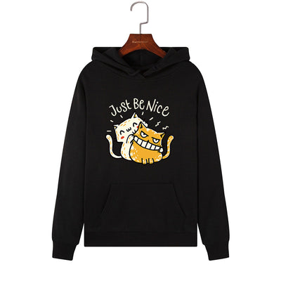 Just Be Nice Funny Cats Women's Hoodie
