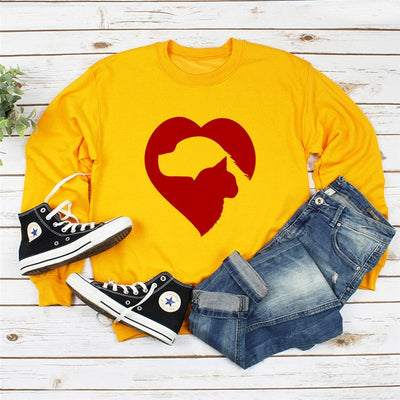 Cat Dog Heart Print Women's Sweatshirt