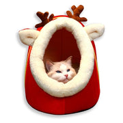 Plush Christmas Inspired Cat Cave