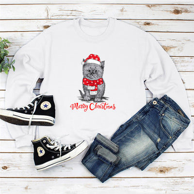 Merry Christmas Santa Cat Women's Sweatshirt