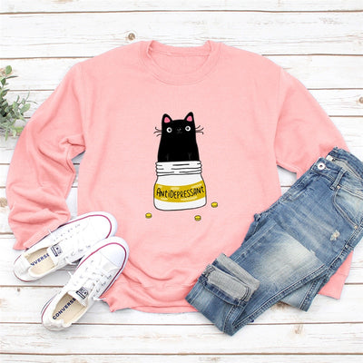 Antidepressant Funny Cat Women's Sweatshirt