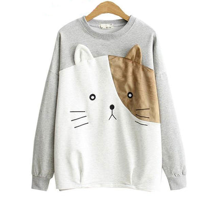 Cute Bi-Color Cat Face Women's Pullover