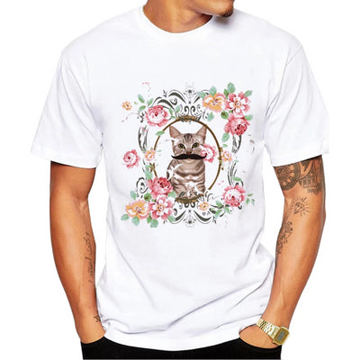 Floral Mustached Cat Men's Tee