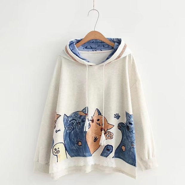 Playful Cats Printed Girls' Hoodie