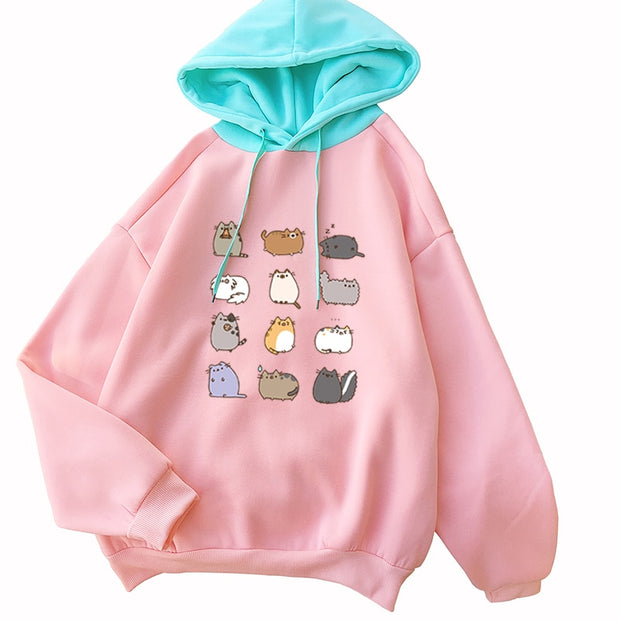 Colorful Pusheen Cat Women's Hoodie