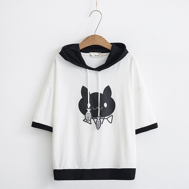Cute Black & White Hooded T-shirt