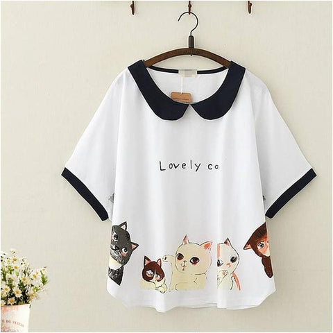 Lovely Cat Collared Batwing T-shirt