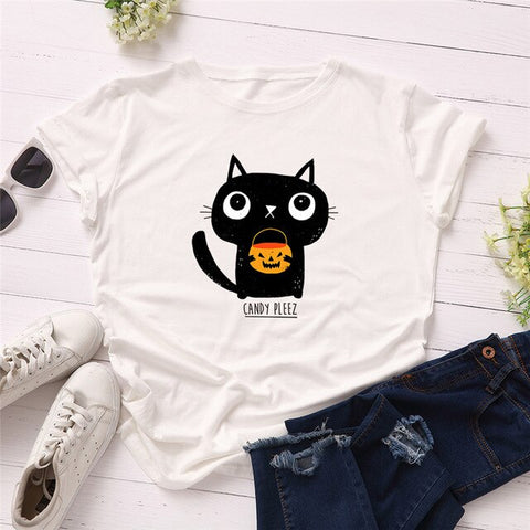 Cute Trick or Treating Cat Women's T-shirt
