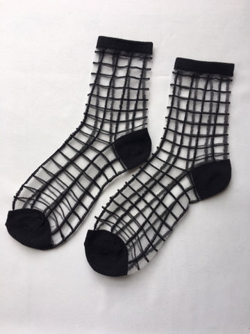 Black Squared Lace Sock