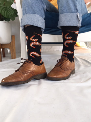 Black & Orange Shrimp Sock
