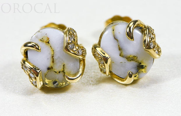 "Gold Quartz Earrings ""Orocal"" EN1133DQ Genuine Hand Crafted Jewelry - 14K Gold Casting"