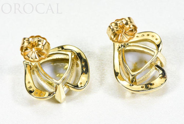 "Gold Quartz Earrings ""Orocal"" EN1134DQ Genuine Hand Crafted Jewelry - 14K Gold Casting"