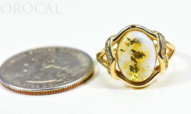 "Gold Quartz Ladies Ring ""Orocal"" RL1107DQ Genuine Hand Crafted Jewelry - 14K Gold Casting"