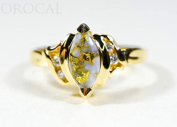 "Gold Quartz Ladies Ring ""Orocal"" RL735D8Q Genuine Hand Crafted Jewelry - 14K Gold Casting"