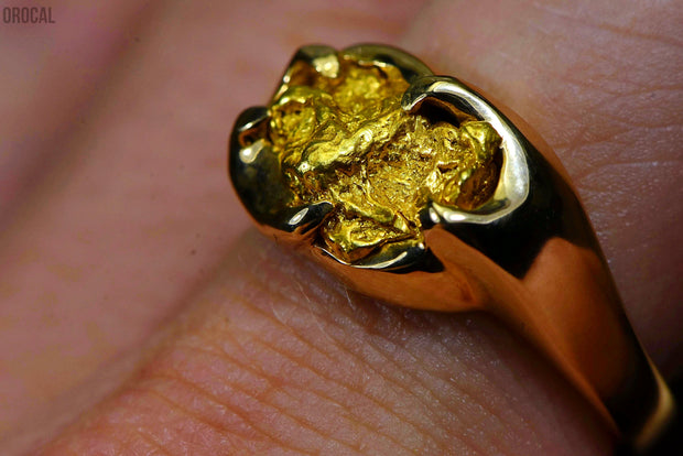 Gold Nugget Mens Ring Orocal Rmen120 Genuine Hand Crafted Jewelry - 14K Casting