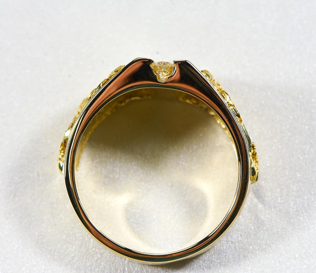"Gold Nugget Men's Ring ""Orocal"" RM376D40 Genuine Hand Crafted Jewelry"
