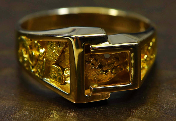 Gold Nugget Mens Ring Orocal Rm164 Genuine Hand Crafted Jewelry - 14K Casting