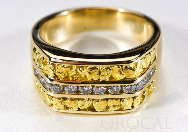 "Gold Nugget Men's Ring ""Orocal"" RM1105DN Genuine Hand Crafted Jewelry - 14K Casting"