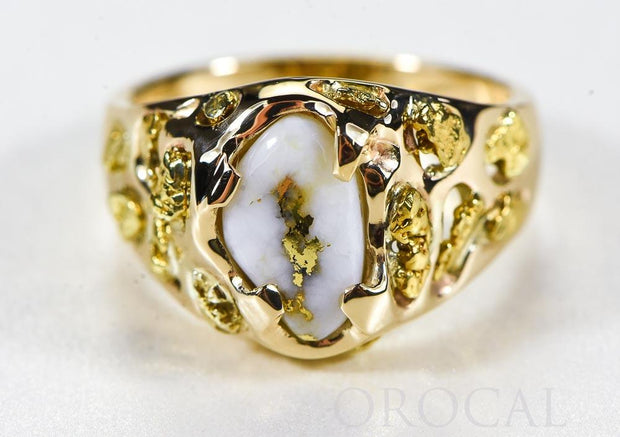 "Gold Quartz Ring ""Orocal"" RMEQ103S Genuine Hand Crafted Jewelry - 14K Gold Casting"