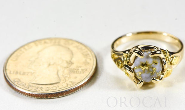 "Gold Quartz Ladies Ring ""Orocal"" RL660Q Genuine Hand Crafted Jewelry - 14K Gold Casting"