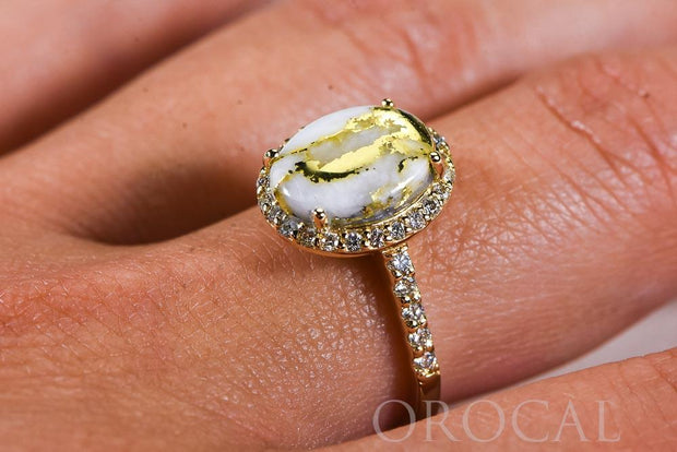 "Gold Quartz Ladies Ring ""Orocal"" RL1109DQ Genuine Hand Crafted Jewelry - 14K Gold Casting"