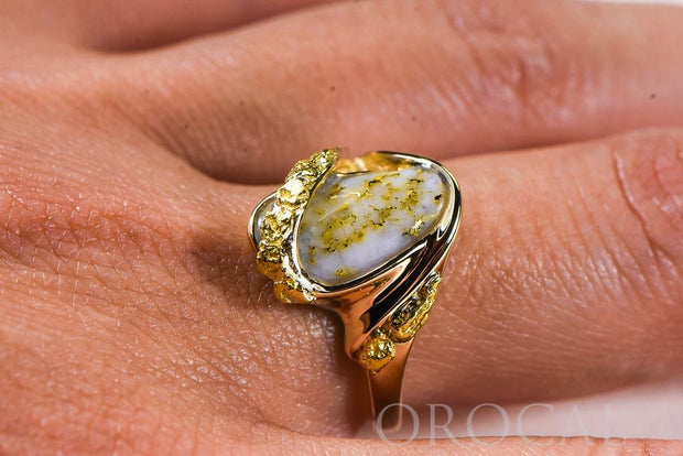 "Gold Quartz Ladies Ring ""Orocal"" RL549OLQ Genuine Hand Crafted Jewelry - 14K Gold Casting"