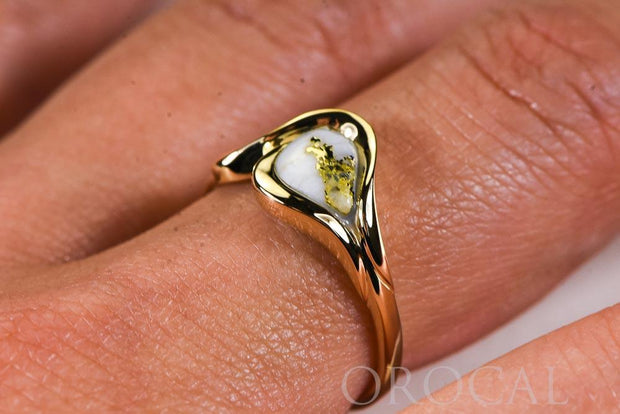 "Gold Quartz Ladies Ring ""Orocal"" RL509Q Genuine Hand Crafted Jewelry - 14K Gold Casting"