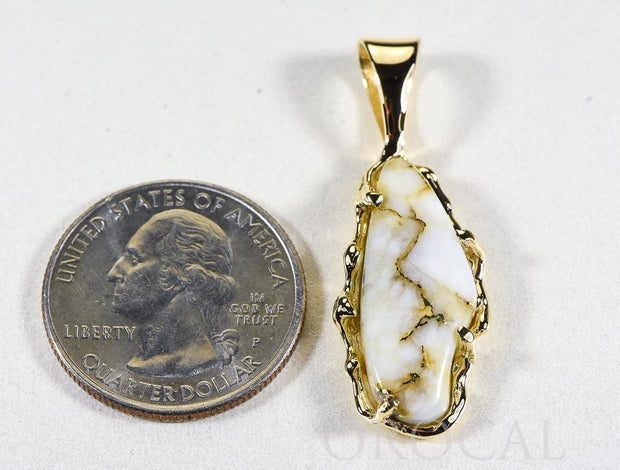 "Gold Quartz Pendant ""Orocal"" PFFQ6 Genuine Hand Crafted Jewelry - 14K Gold Yellow Gold Casting"