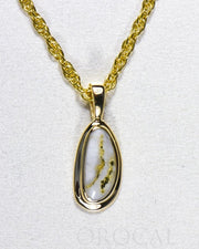 "Gold Quartz Pendant ""Orocal"" PN762Q Genuine Hand Crafted Jewelry - 14K Gold Yellow Gold Casting"