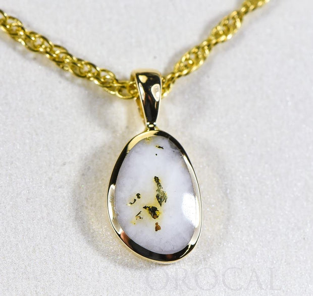 "Gold Quartz Pendant  ""Orocal"" PSC106QX Genuine Hand Crafted Jewelry - 14K Gold Yellow Gold Casting"