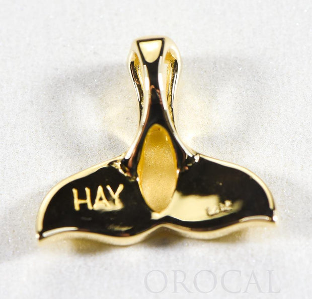 "Gold Nugget Pendant Whales Tail ""Orocal"" PWT21X Genuine Hand Crafted Jewelry - 14K Gold Yellow Gold Casting"